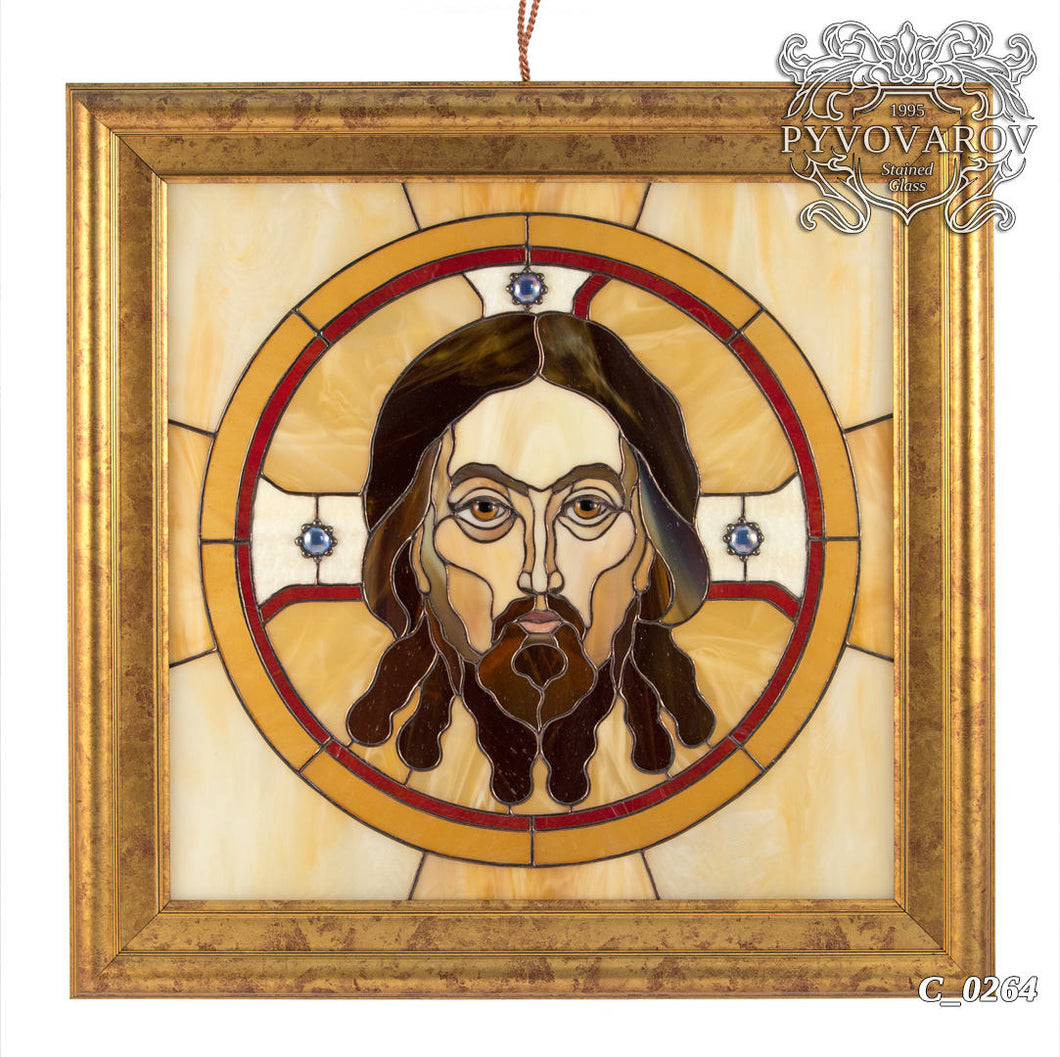 Stained glass Jesus Christ portrait in an oval with beige background framed panel
