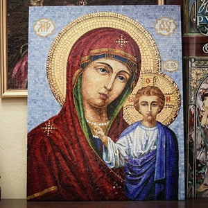Stained glass mosaic icon depicting Virgin Mary with small Jesus Christ