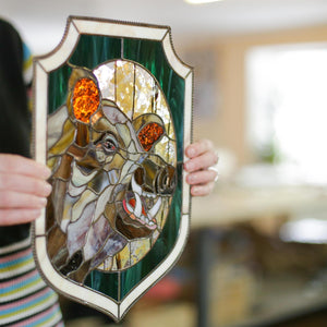 Boar with its razors stained glass panel for window decoration