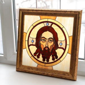 Stained glass panel depicting Jesus Christ panel with inserted gems