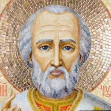 Load image into Gallery viewer, Zoomed stained glass St. Nicolas' mosaic portrait