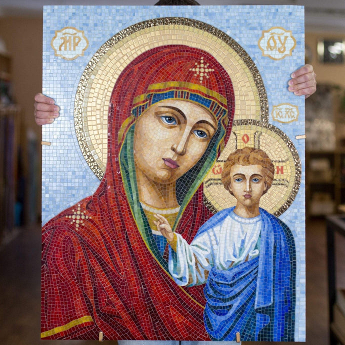 Stained glass Virgin Mary with small Jesus Christ mosaic icon