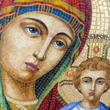 Load image into Gallery viewer, Zoomed stained glass faces of Virgin Mary and Jesus Christ mosaic