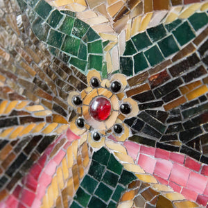 Zoomed accessories of Bohdan Khmelnytsky on stained glass mosaic wall hanging