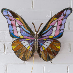 Stained glass purple butterfly wall lamp with brown and pink shades