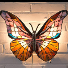Load image into Gallery viewer, Lit stained glass colourful butterfly wall sconce