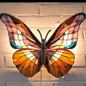 Lit stained glass colourful butterfly wall sconce