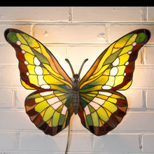 Load image into Gallery viewer, Lit green stained glass butterfly wall lamp