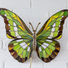 Load image into Gallery viewer, Zoomed stained glass green butterfly wall sconce