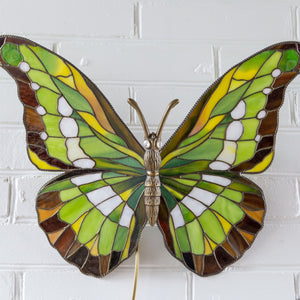 Zoomed stained glass green butterfly wall sconce