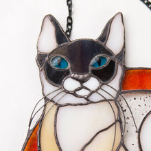 Load image into Gallery viewer, Zoomed stained glass Siamese cat panel