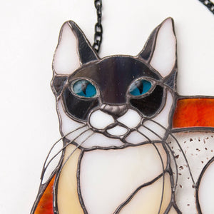 Zoomed stained glass Siamese cat panel