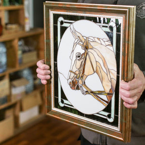 Stained glass panel depicting horse portrait for window decoration