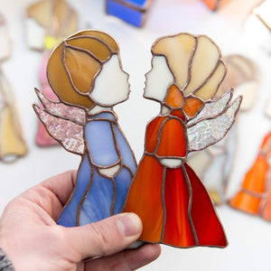 Suncatcher stained glass angel iridescent wings Custom stained glass window hangings godparent gift