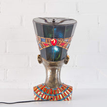 Load image into Gallery viewer, Stained glass hat and necklace of bronze Nefertiti lamp back-view
