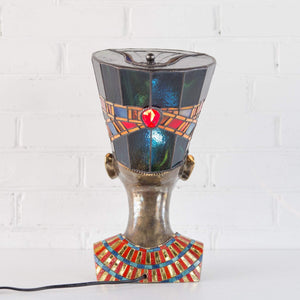 Stained glass hat and necklace of bronze Nefertiti lamp back-view