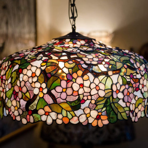 Lit stained glass cherry blossom chandelier