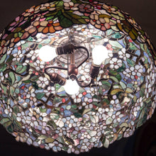 Load image into Gallery viewer, Stained glass cherry blossom chandelier from the inside