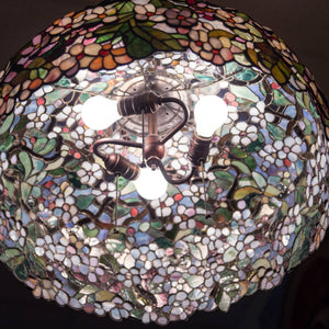 Stained glass cherry blossom chandelier from the inside