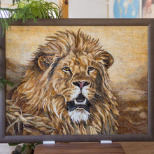 Load image into Gallery viewer, Framed stained glass mosaic of a lion