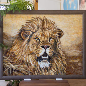 Framed stained glass mosaic of a lion