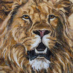 Zoomed stained glass mosaic of lion portrait