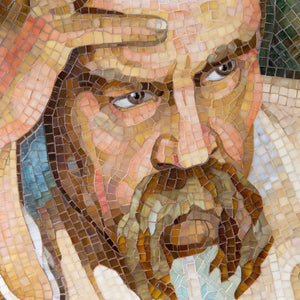 Zoomed stained glass mosaic portrait of Taras Hryhorovych Shevchenko