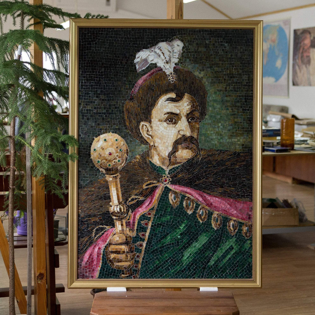 Stained glass mosaic portrait depicting Bohdan Khmelnytsky holding mace in his hands
