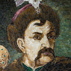 Zoomed stained glass mosaic portrait of Bohdan Khmelnytsky