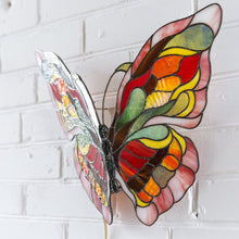 Load image into Gallery viewer, Stained glass monarch butterfly lamp Tiffany accent lamp hanging wall sconce Modern bedside lamp