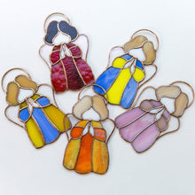Load image into Gallery viewer, Five stained glass colourful angels suncatchers