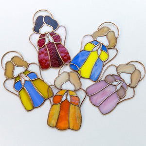 Five stained glass colourful angels suncatchers