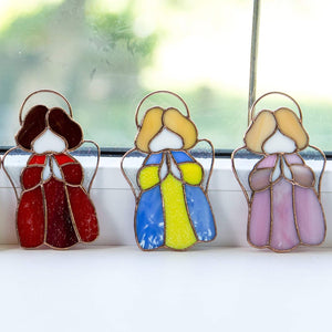 Three angel suncatchers of stained glass