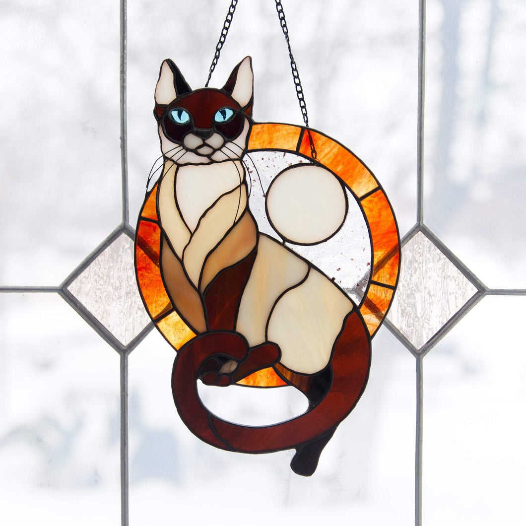 Stained glass Siamese cat with blue eyes round panel made from photo