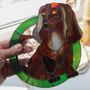 Dachshund panel of stained glass made from photo