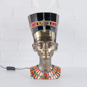 Bronze Nefertiti Lamp with stained glass necklace and hat