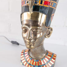 Load image into Gallery viewer, Zoomed bronze Nefertiti lamp with stained glass necklace and hat