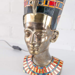 Zoomed bronze Nefertiti lamp with stained glass necklace and hat