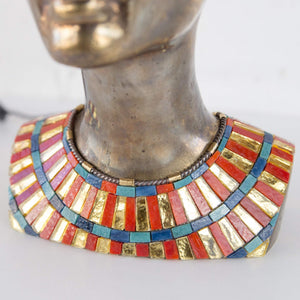 Zoomed stained glass necklace on Nefertiti's neck
