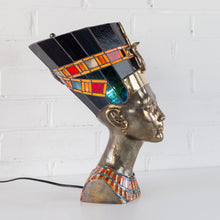 Load image into Gallery viewer, Bronze and stained glass Nefertiti lamp for home decor sideways