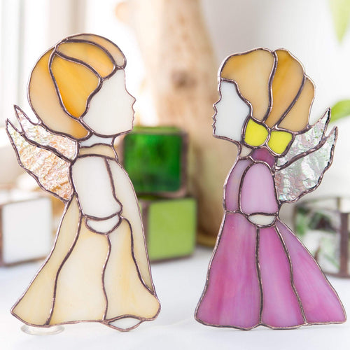 Stained glass angel beige boy angel and  pink girl angel suncatchers