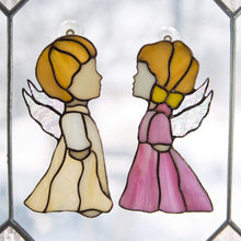 Load image into Gallery viewer, Suncatcher stained glass angel iridescent wings Custom stained glass window hangings godparent gift