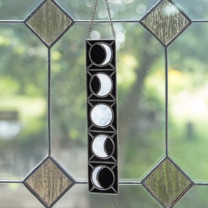 Vertical stained glass moon phases panel for window decoration