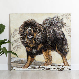 Stained glass mosaic depicting Tibetan Mastiff with one front paw up