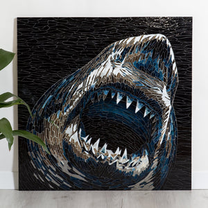 Attacking shark portrait made of stained glass & mirror mosaic