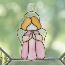 Load image into Gallery viewer, Pink stained glass angel window hanging