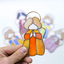 Load image into Gallery viewer, Stained glass little orange angel suncatcher