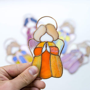 Stained glass little orange angel suncatcher