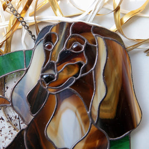 Zoomed stained glass Dachshund portrait panel