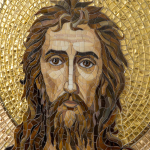 Orthodox icon John the Baptist Custom stained glass mosaic wall art  Religious wall art